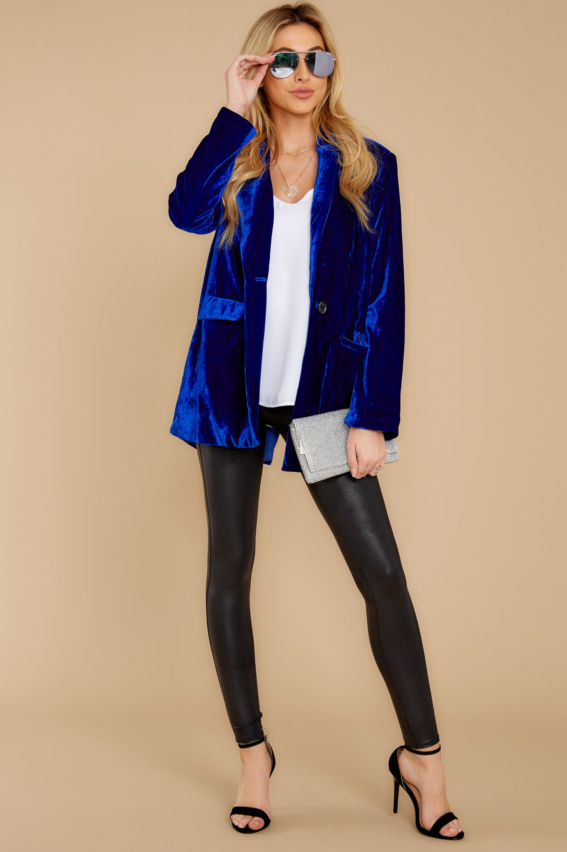 4 Now Introducing Blue Velour Blazer at reddress.com