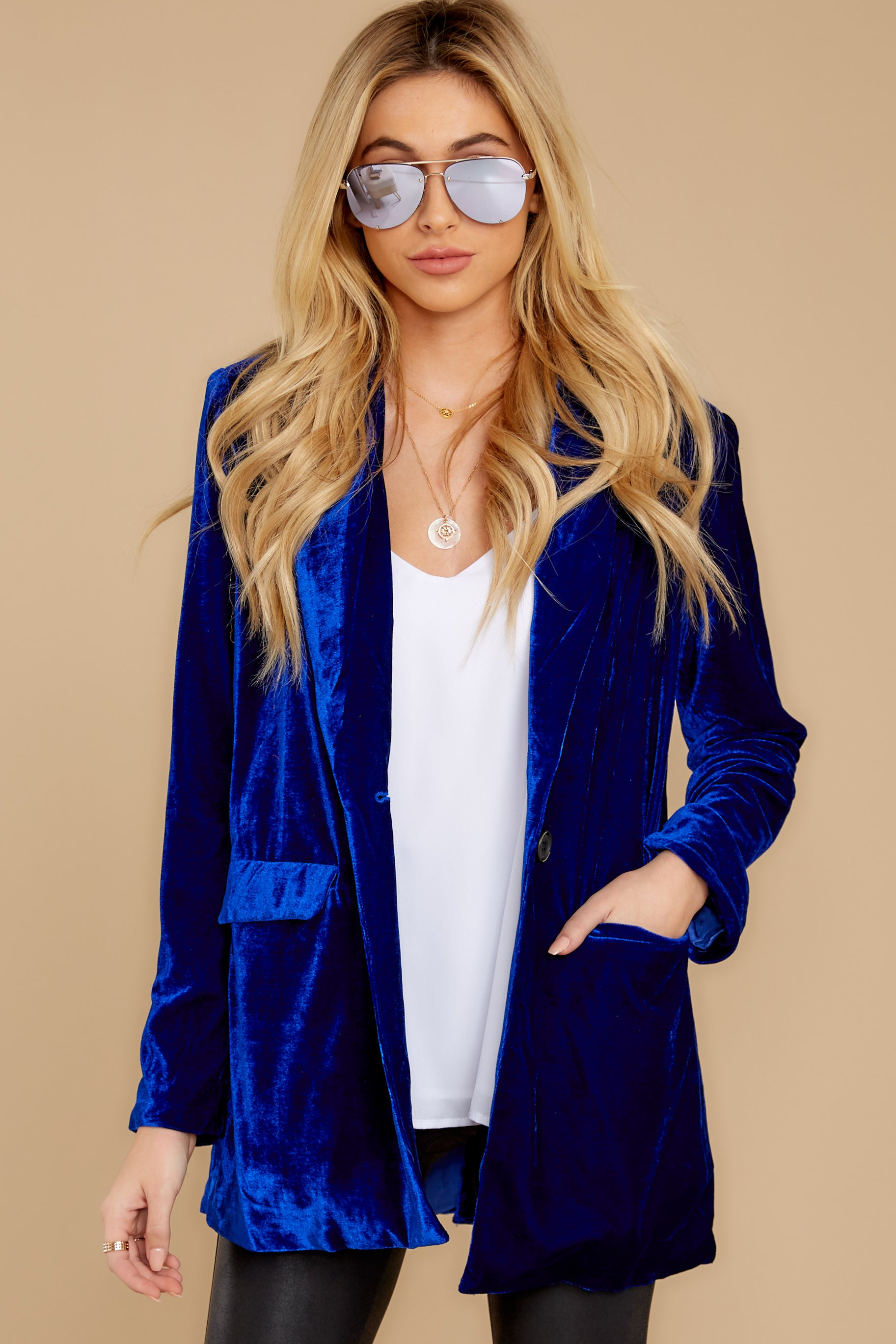 5 Now Introducing Blue Velour Blazer at reddress.com