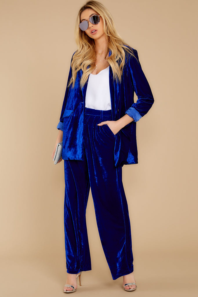 1 Now Introducing Blue Velour Blazer at reddressboutique.com