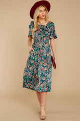 1 New Heights Teal Print Maxi Dress at reddressboutique.com