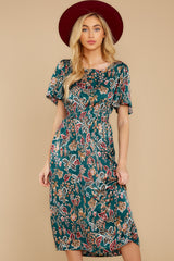 6 New Heights Teal Print Maxi Dress at reddressboutique.com