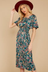 7 New Heights Teal Print Maxi Dress at reddressboutique.com