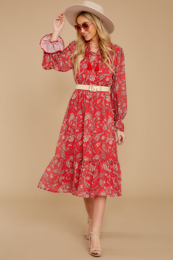 1 Whisper Of The Wind Pink Floral Print Midi Dress at reddressboutique.com