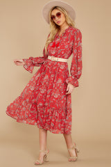 2 Change Your Plans Red Paisley Midi Dress at reddressboutique.com