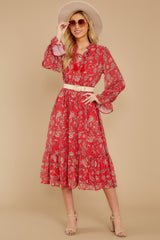 3 Change Your Plans Red Paisley Midi Dress at reddressboutique.com