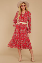 4 Change Your Plans Red Paisley Midi Dress at reddressboutique.com