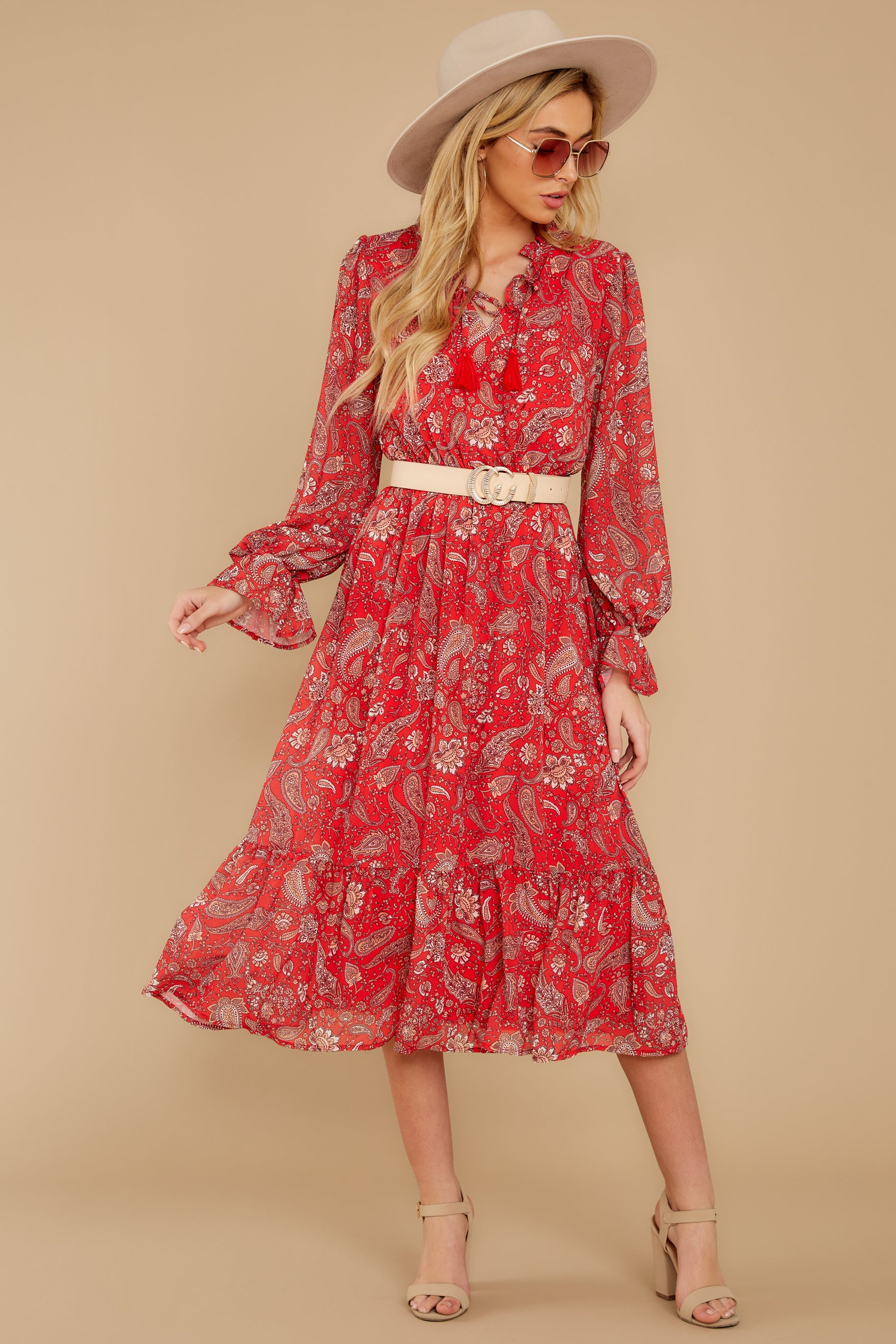 5 Change Your Plans Red Paisley Midi Dress at reddressboutique.com