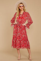 6 Change Your Plans Red Paisley Midi Dress at reddressboutique.com