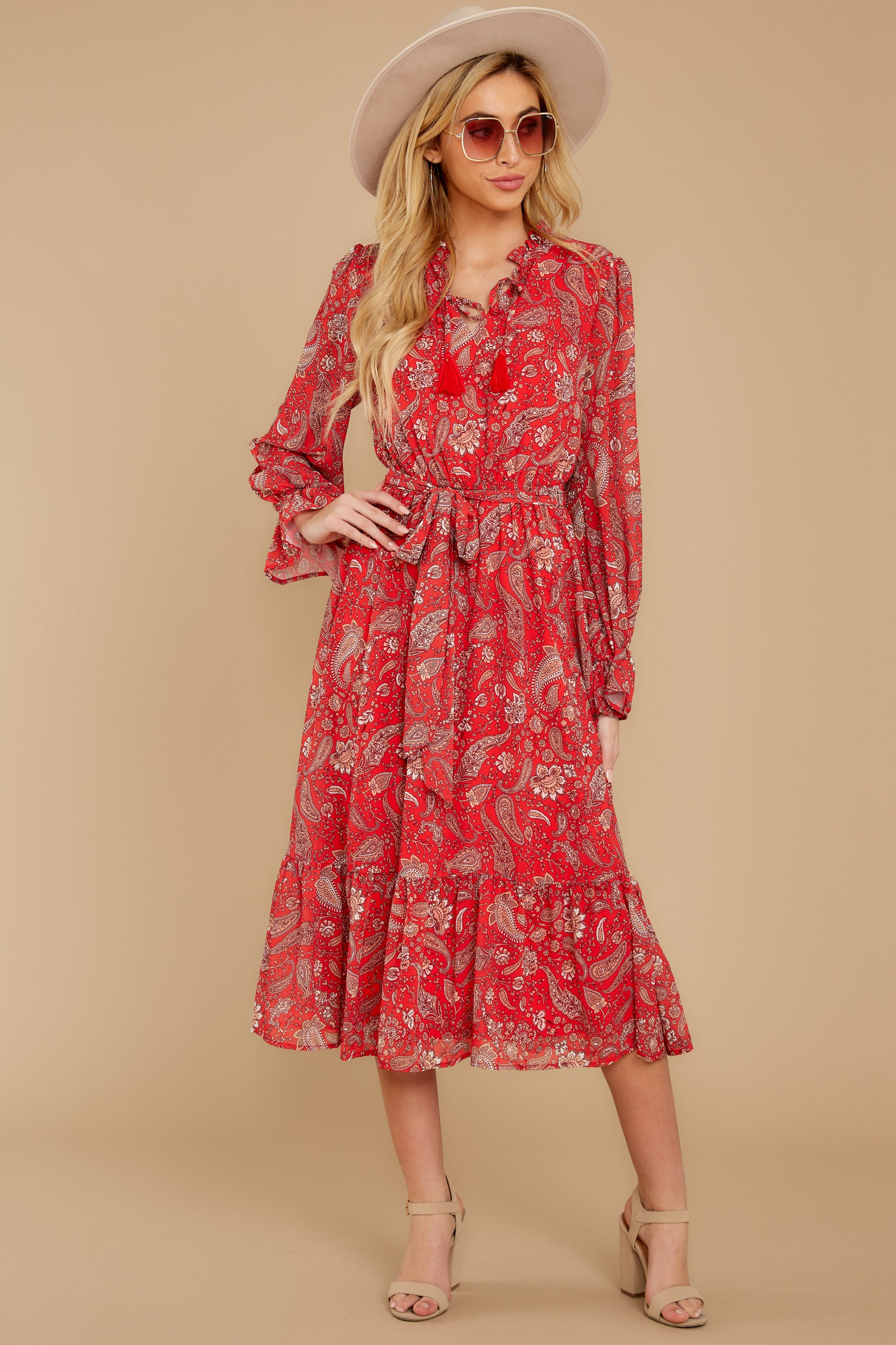 7 Change Your Plans Red Paisley Midi Dress at reddressboutique.com