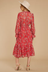8 Change Your Plans Red Paisley Midi Dress at reddressboutique.com