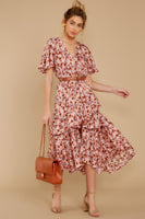 V-neck Bell Sleeves Elasticized Waistline Floral Print Slit Tiered Button Closure Polyester Midi Dress With Ruffles