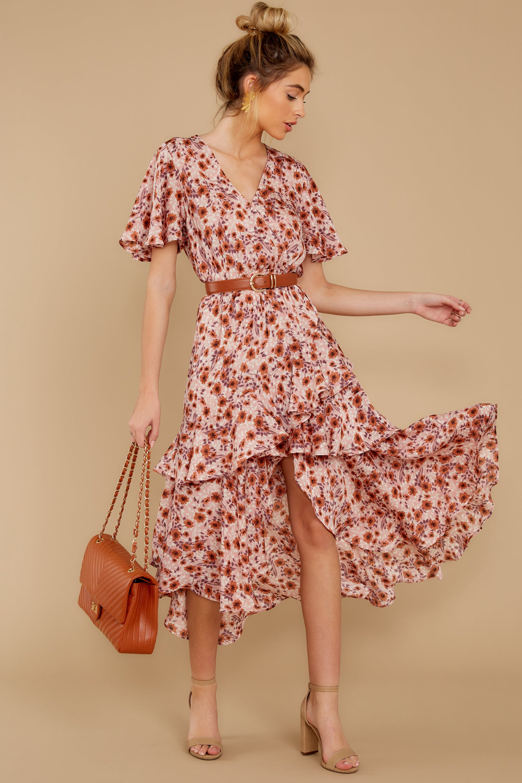 2 It's Perfect Timing Pink Floral Print Midi Dress at reddressboutique.com