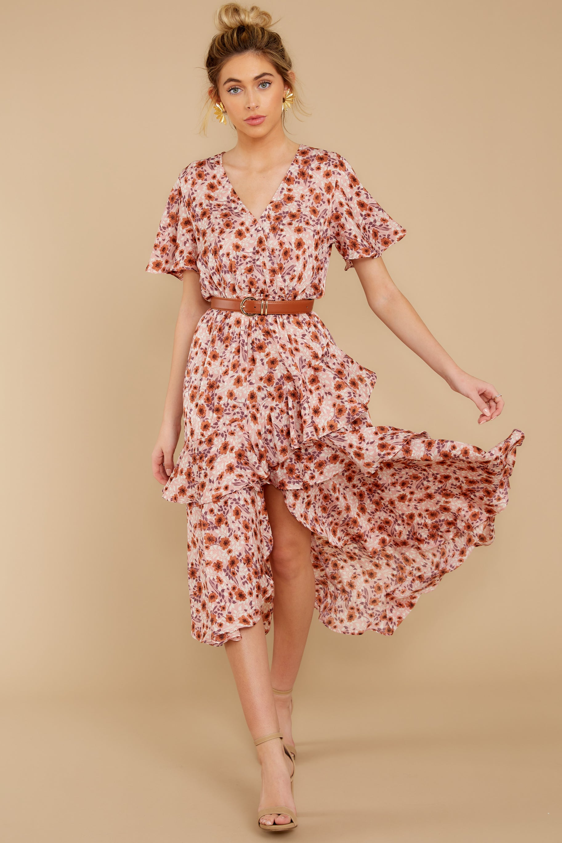 3 It's Perfect Timing Pink Floral Print Midi Dress at reddressboutique.com