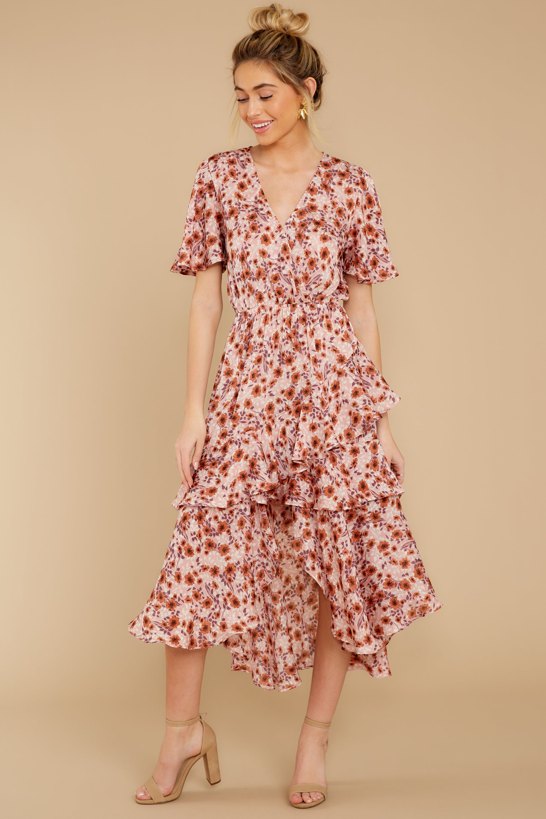 5 It's Perfect Timing Pink Floral Print Midi Dress at reddressboutique.com