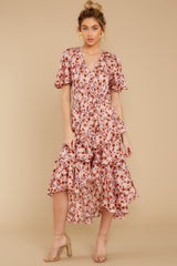6 It's Perfect Timing Pink Floral Print Midi Dress at reddressboutique.com