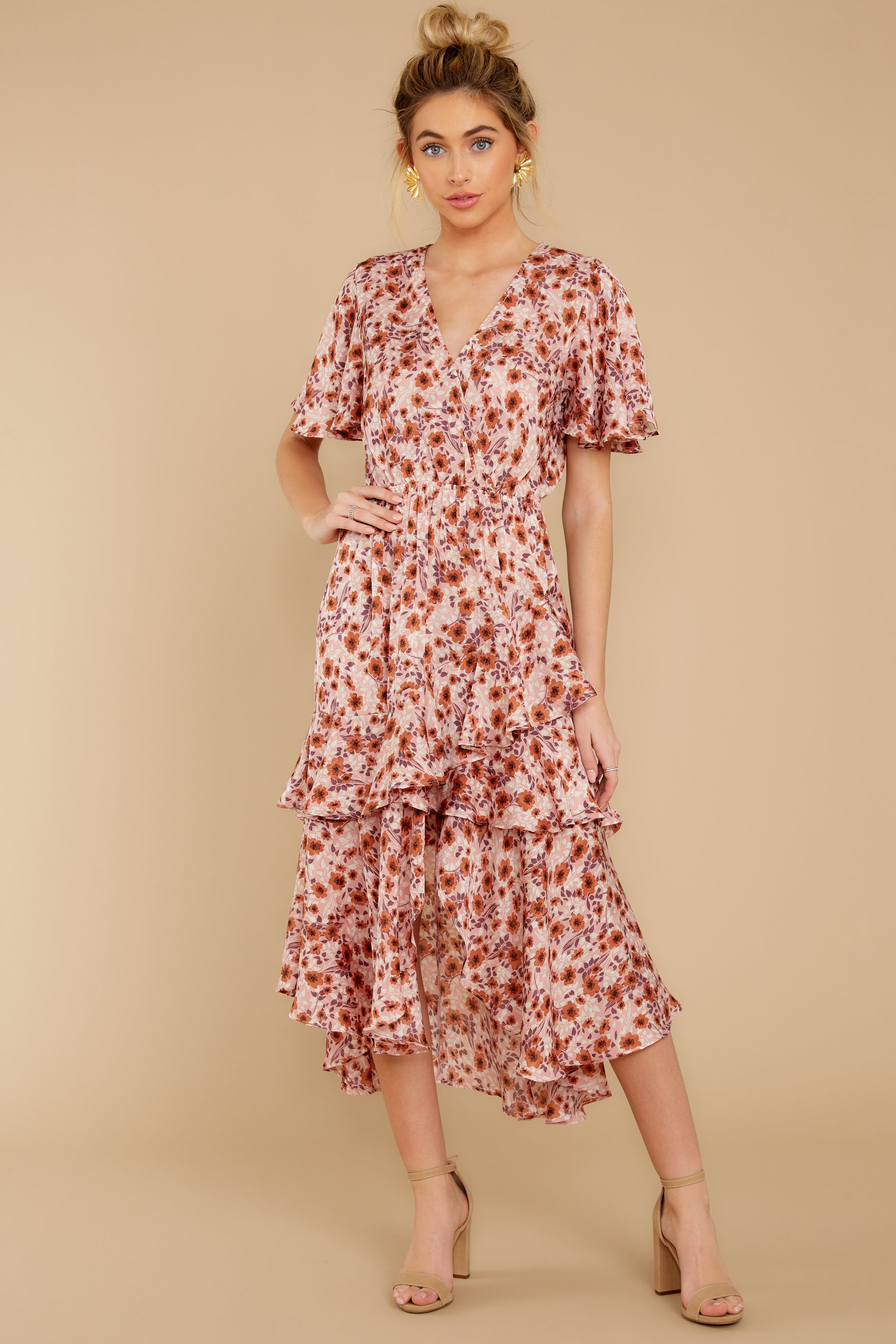 7 It's Perfect Timing Pink Floral Print Midi Dress at reddressboutique.com