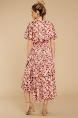 8 It's Perfect Timing Pink Floral Print Midi Dress at reddressboutique.com