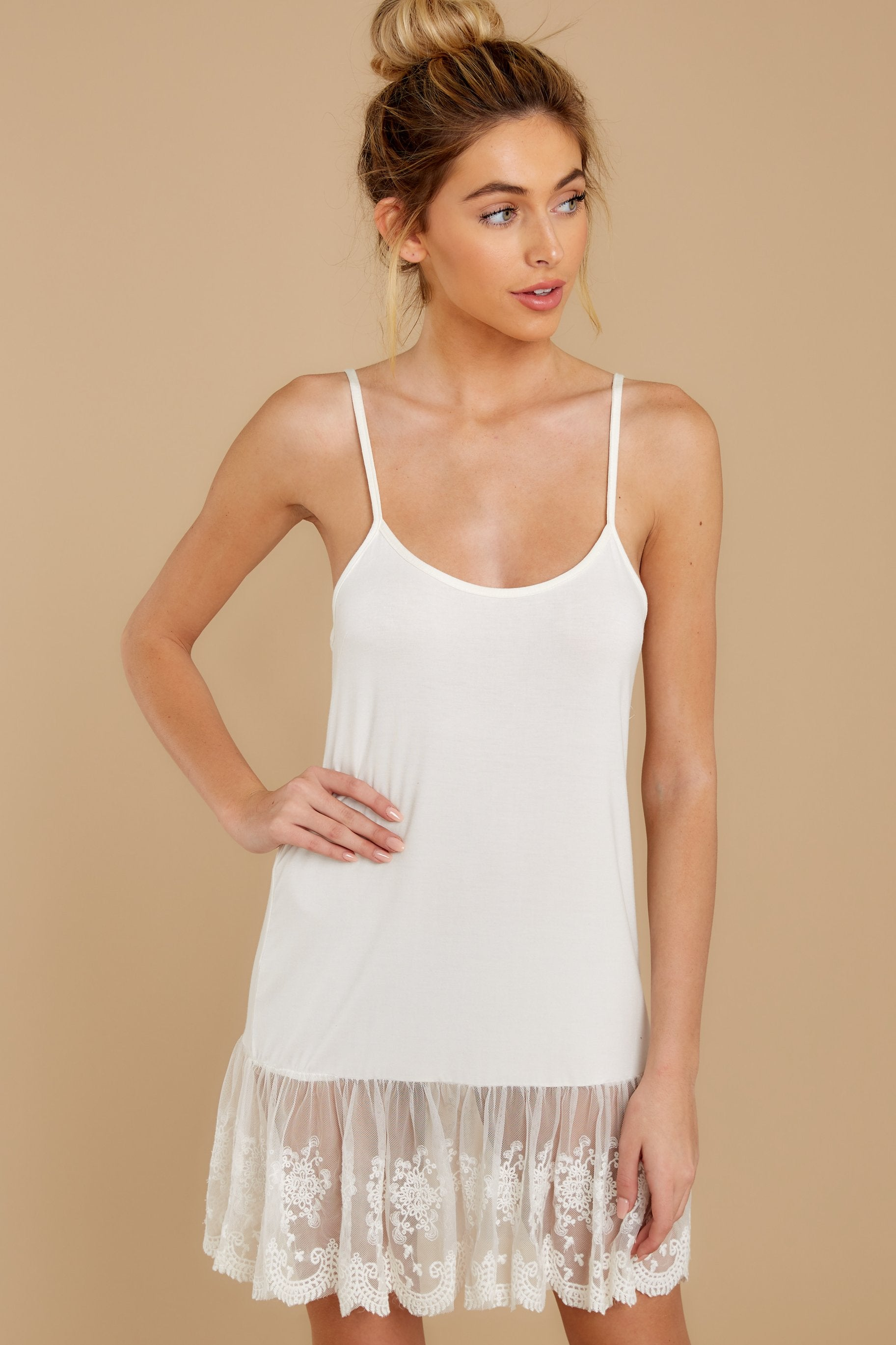 1 Perfect Duet White Lace Slip Dress at reddressboutique.com