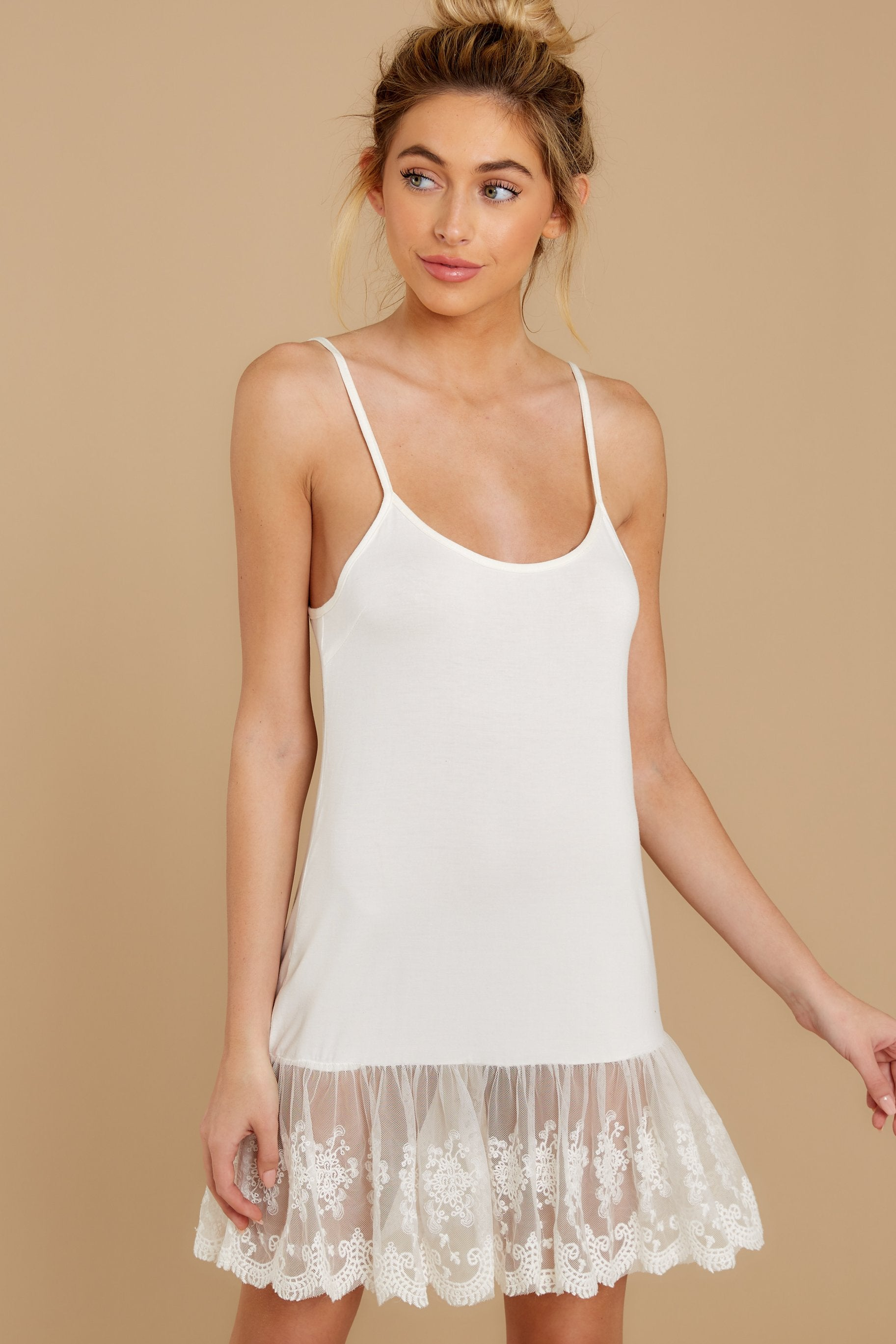 3 Perfect Duet White Lace Slip Dress at reddressboutique.com