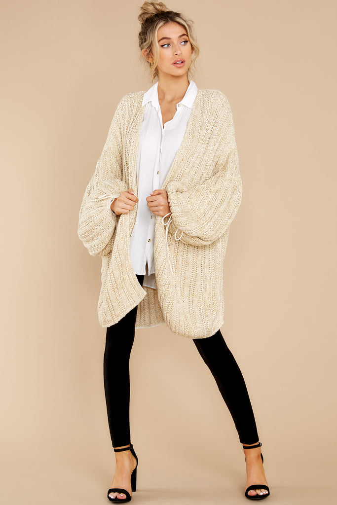 1 Maddy Off White And Gold Cardigan at reddress.com