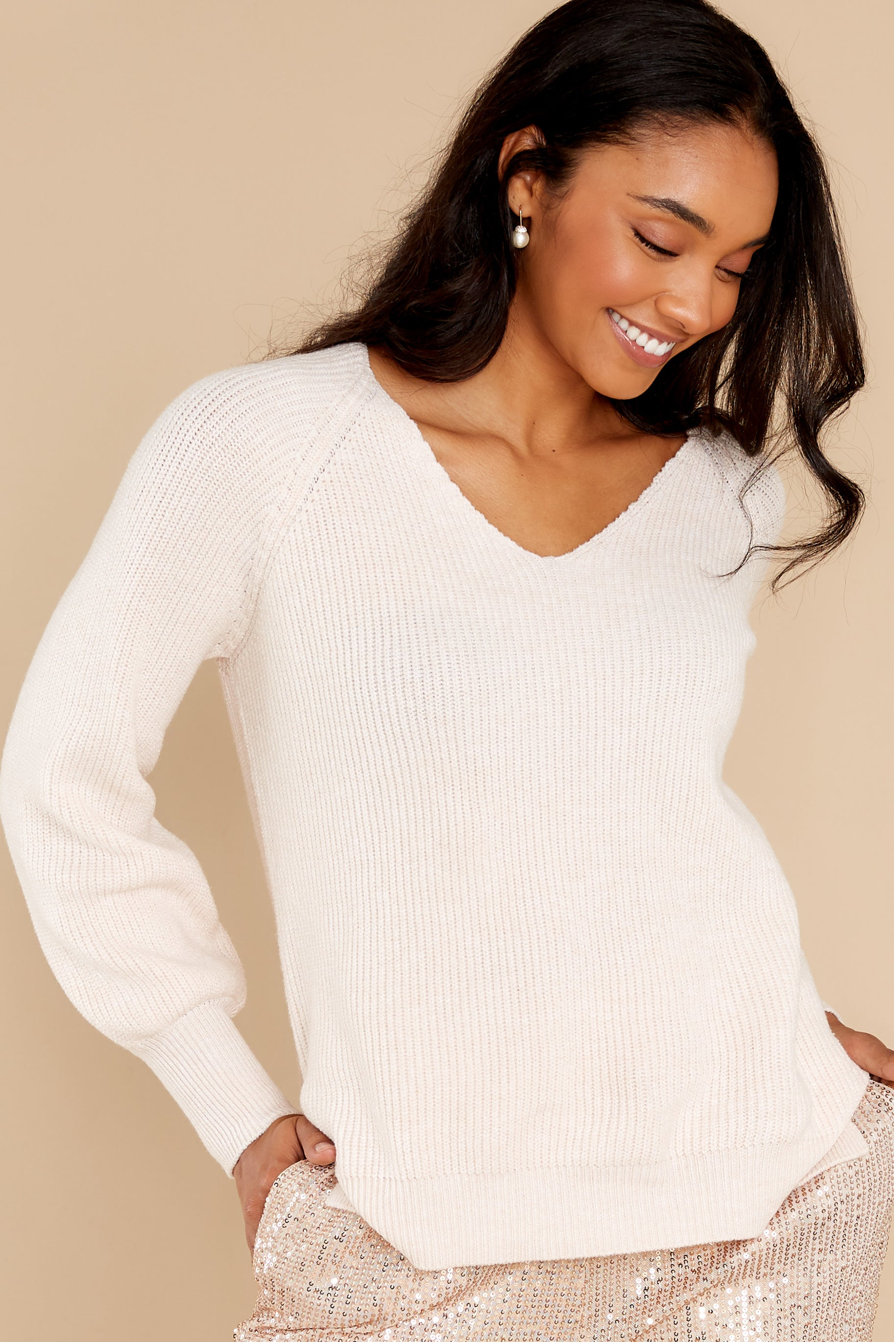 13 New Traditions Ivory Sweater at reddress.com