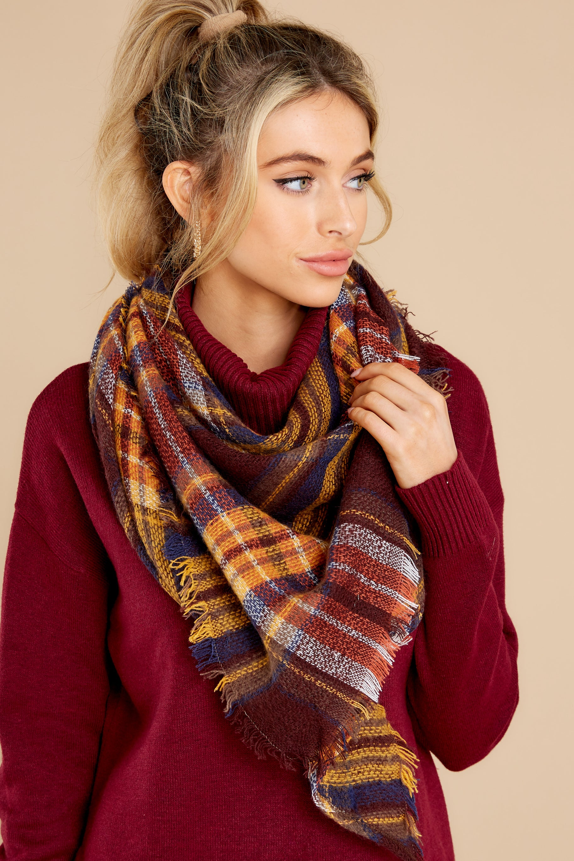 1 Chilled For The Day Maroon Brown Plaid Scarf at reddress.com