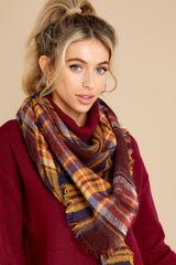 2 Chilled For The Day Maroon Brown Plaid Scarf at reddress.com