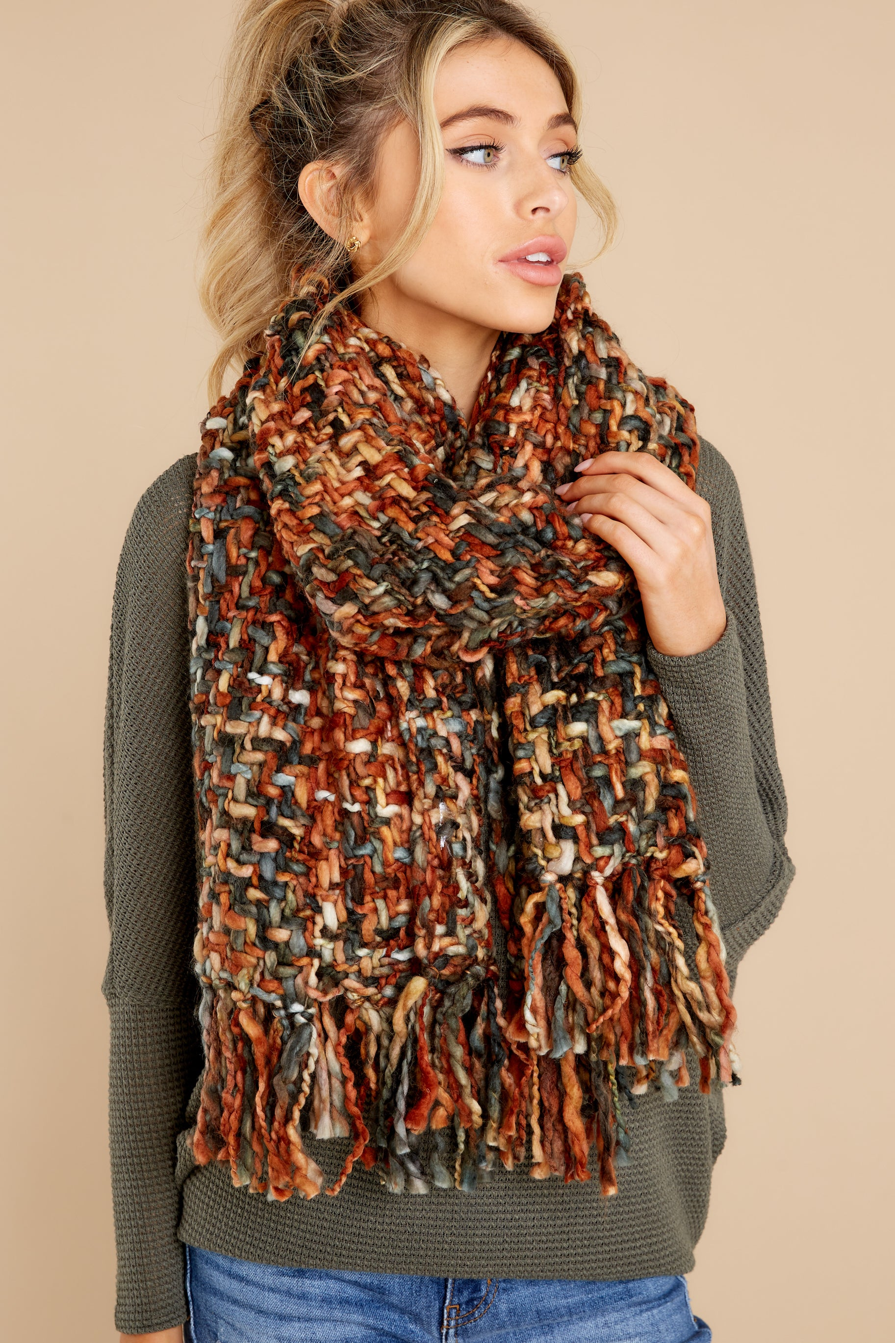 1 Around The Fire Rust And Black Multi Knit Scarf at reddress.com
