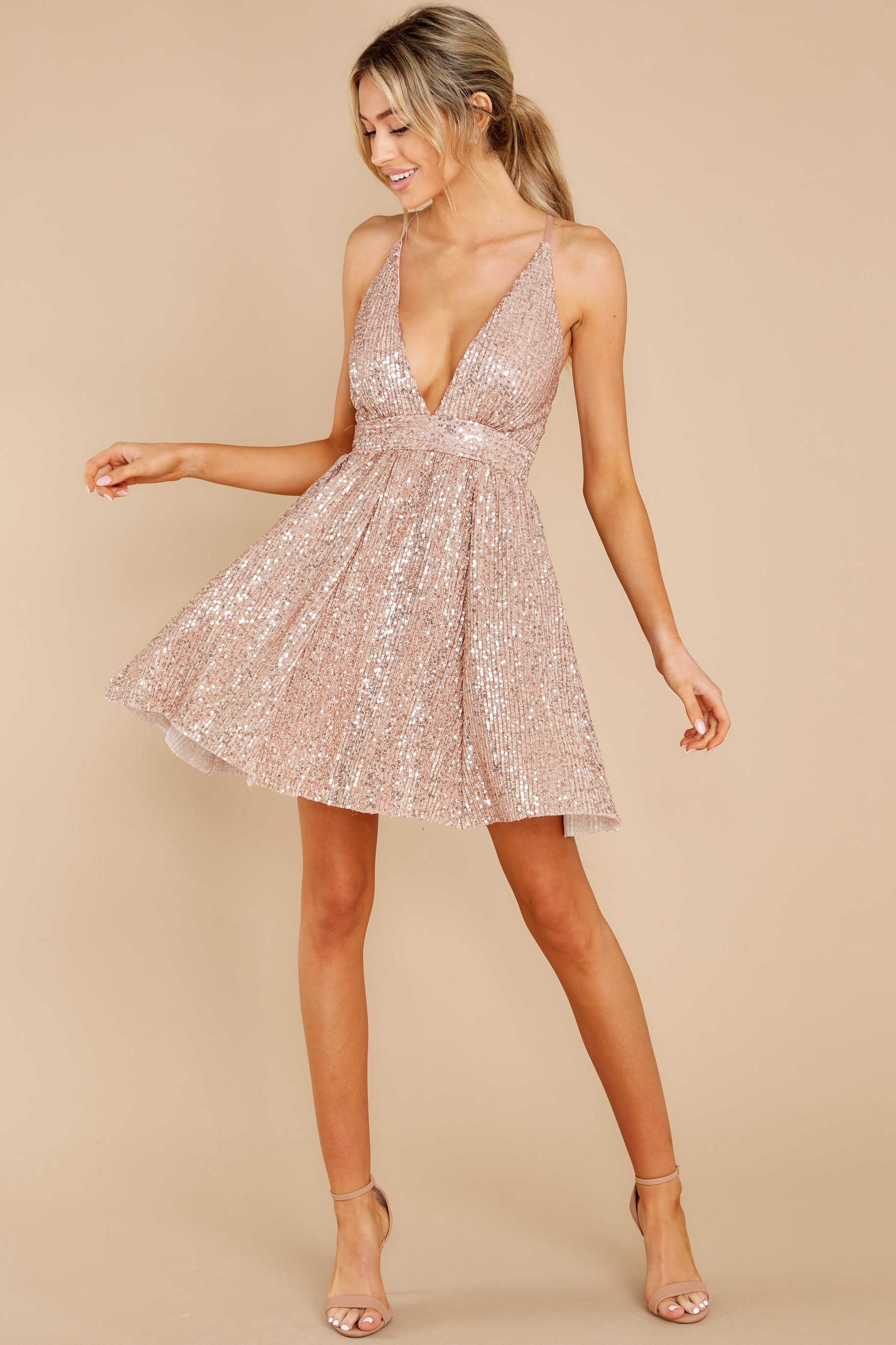 5 Toast Worthy Rose Gold Sequin Dress at reddress.com