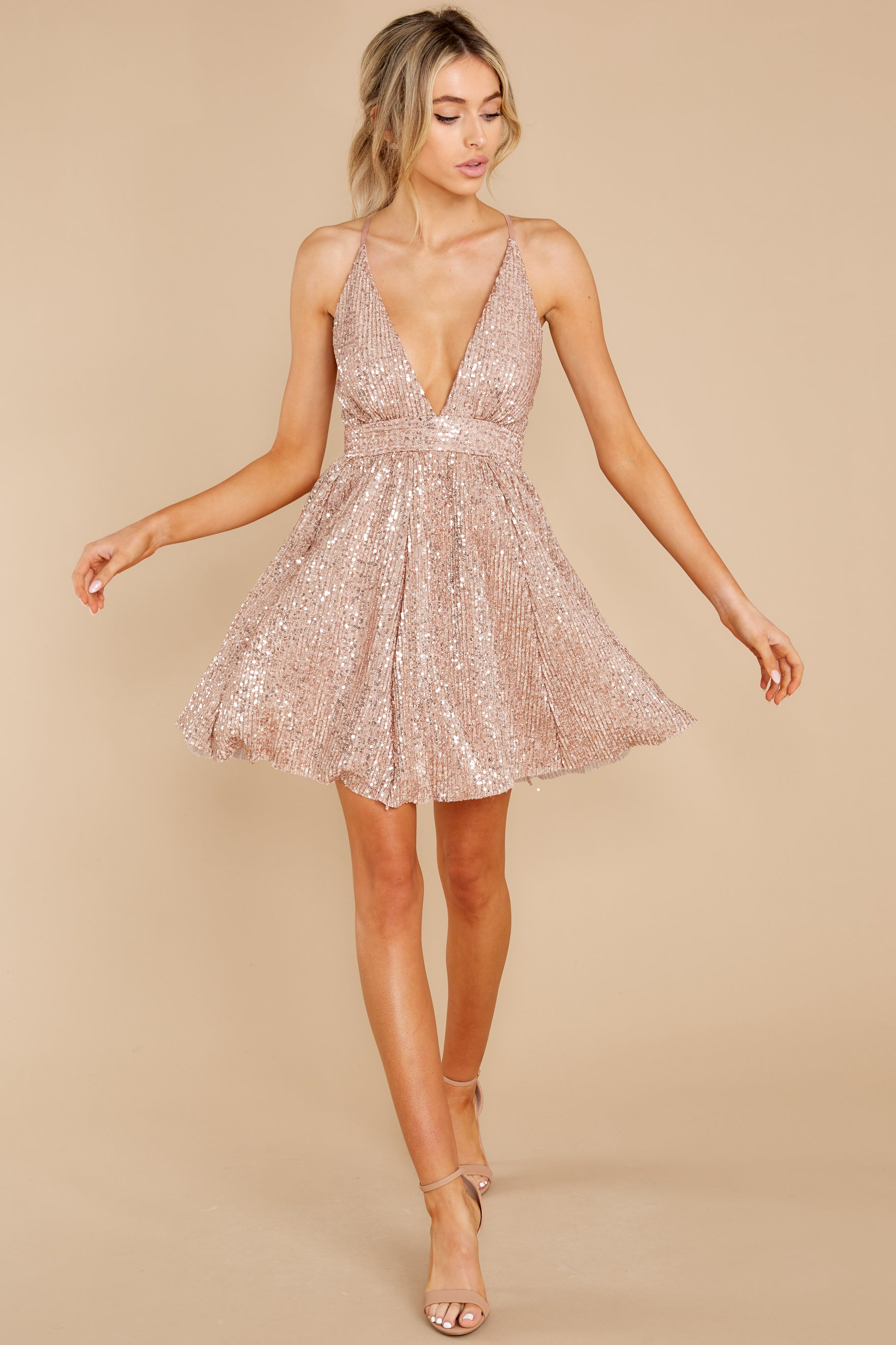 1 Toast Worthy Rose Gold Sequin Dress at reddress.com