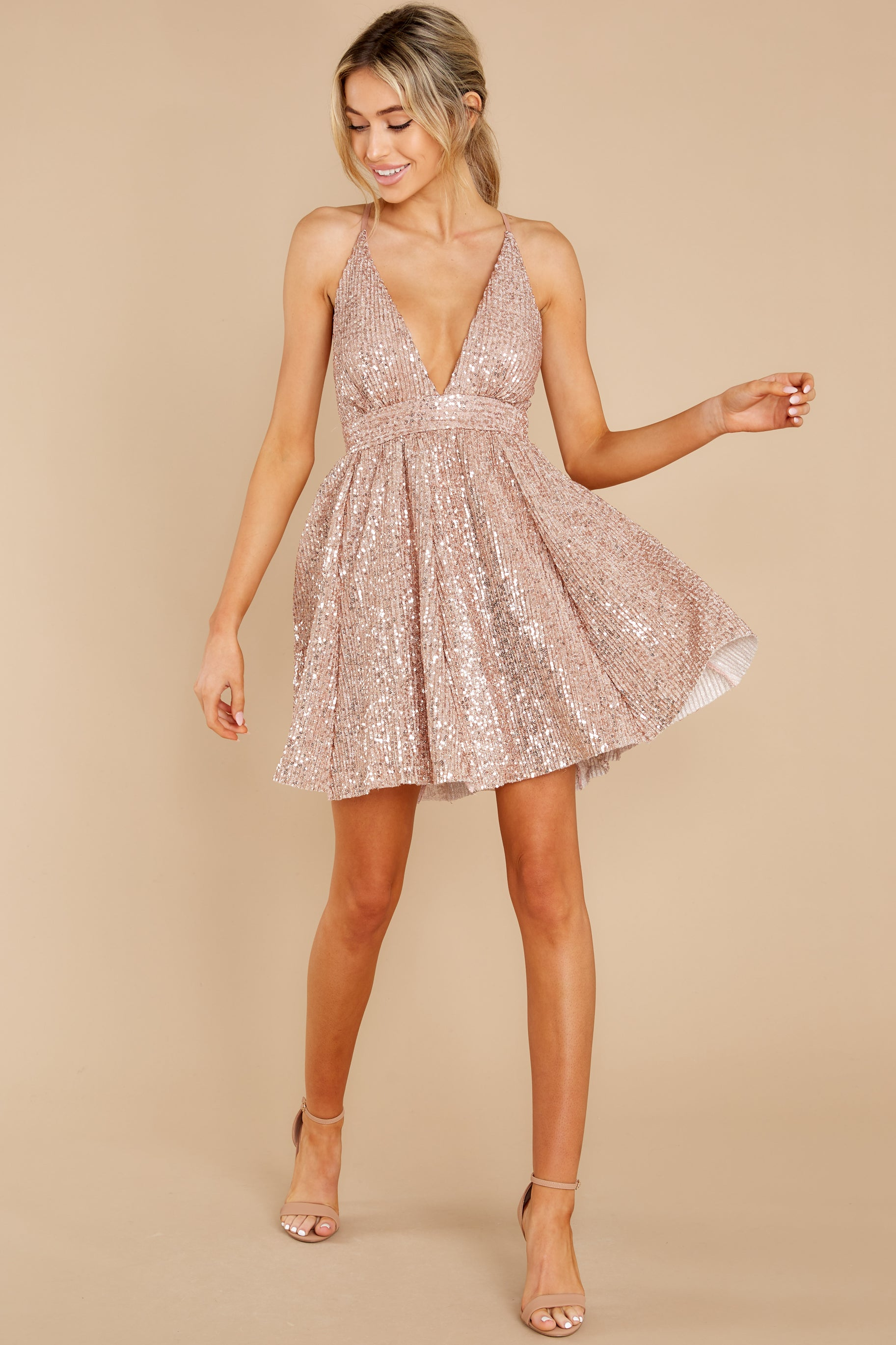 4 Toast Worthy Rose Gold Sequin Dress at reddress.com