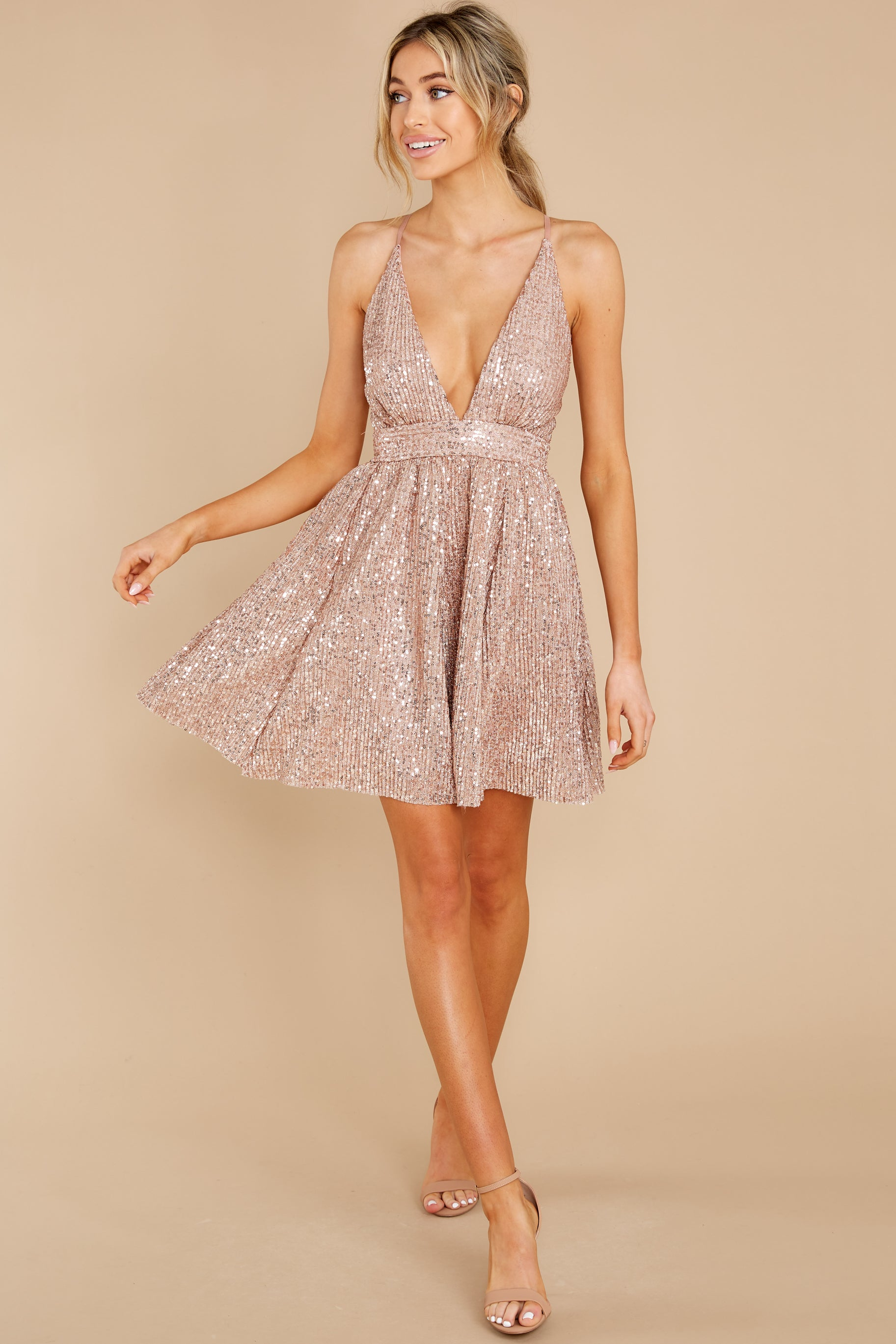 3 Toast Worthy Rose Gold Sequin Dress at reddress.com