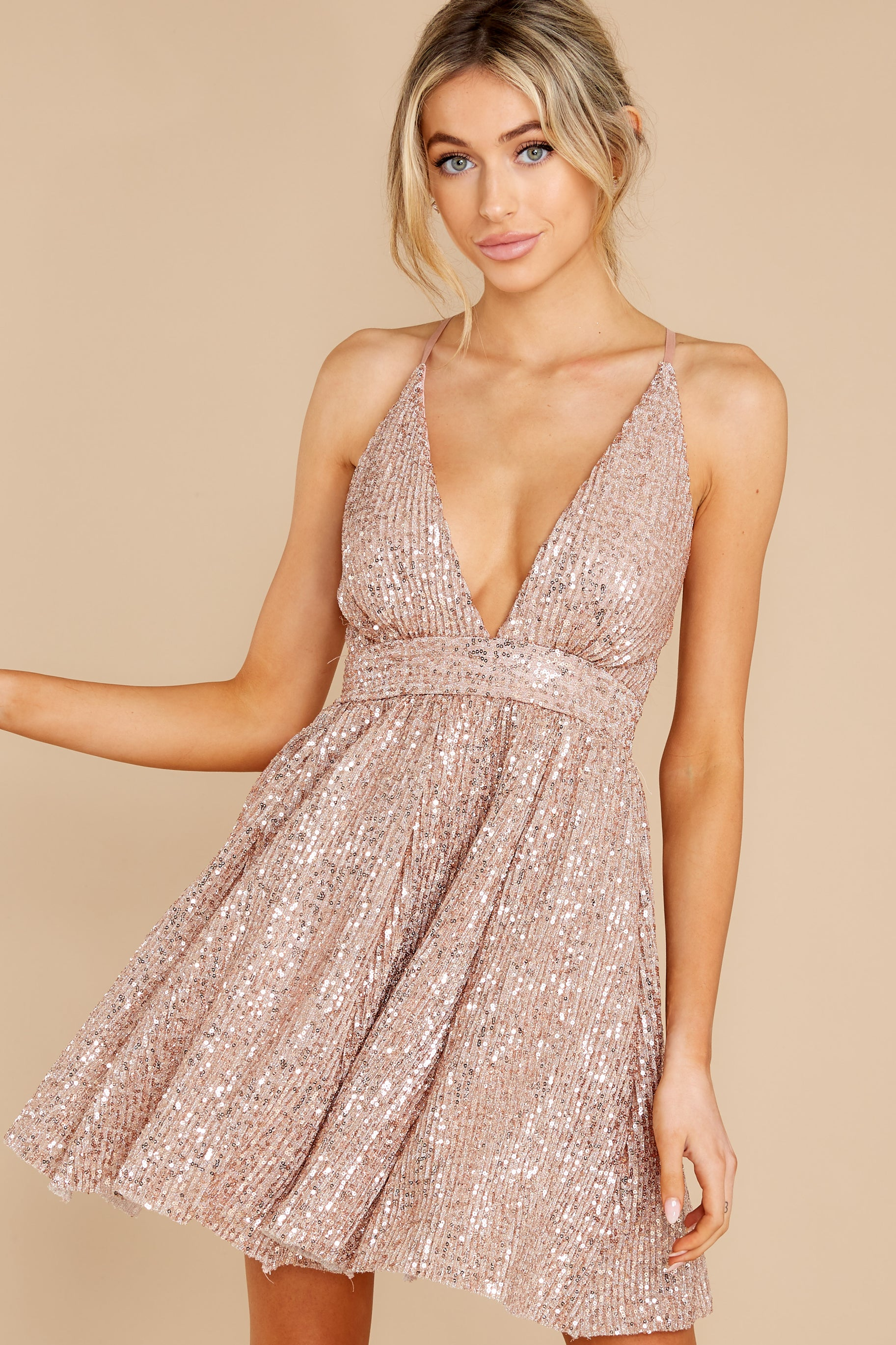 6 Toast Worthy Rose Gold Sequin Dress at reddress.com