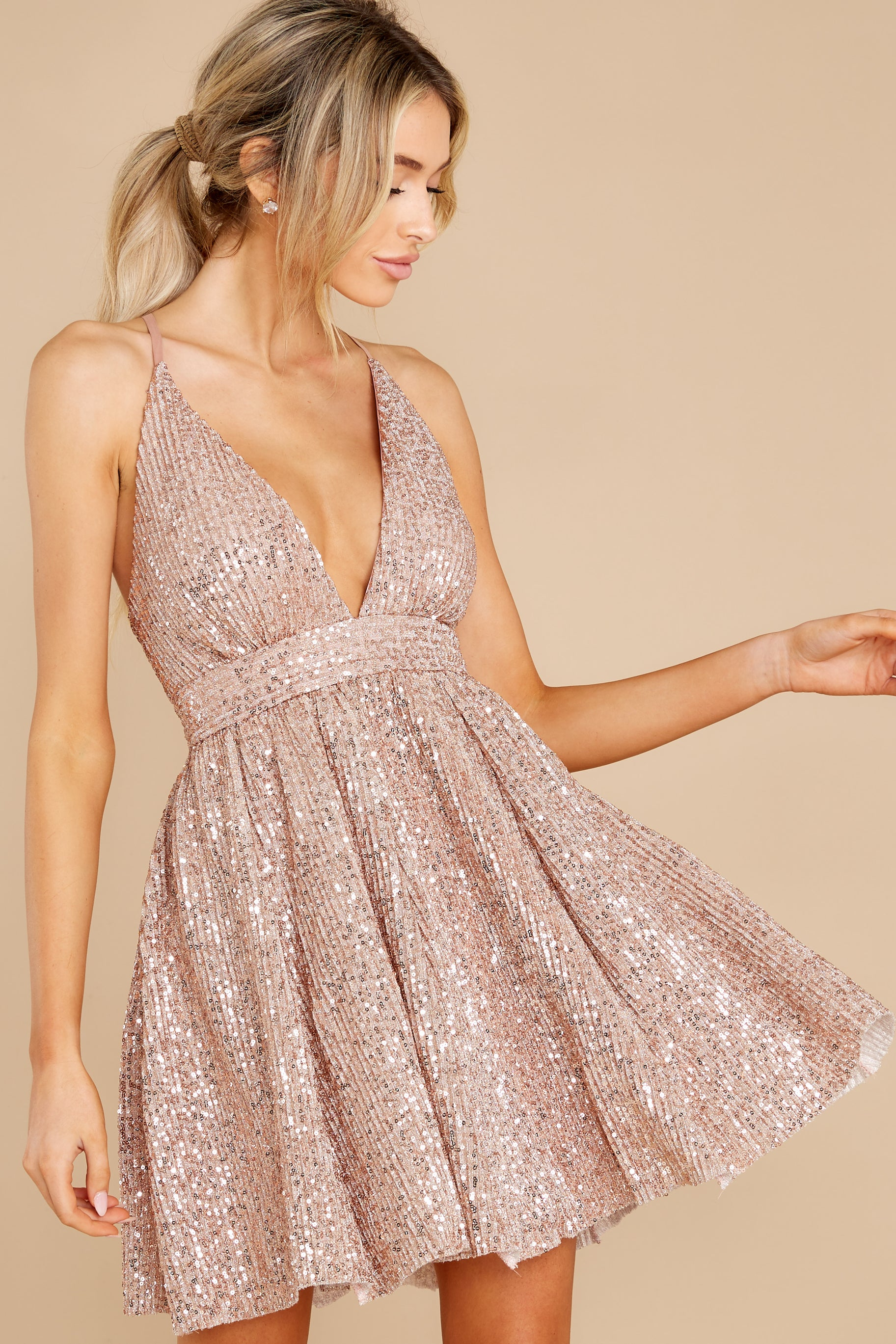 9 Toast Worthy Rose Gold Sequin Dress at reddress.com