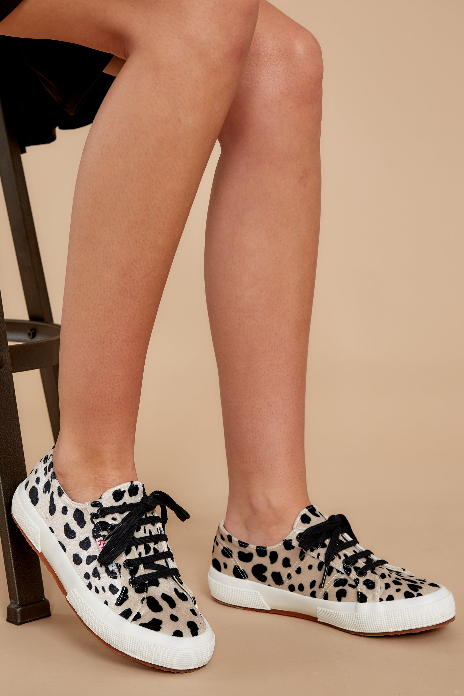 1 2750 Fan Velvet Dalmation Sneakers at reddressboutique.com