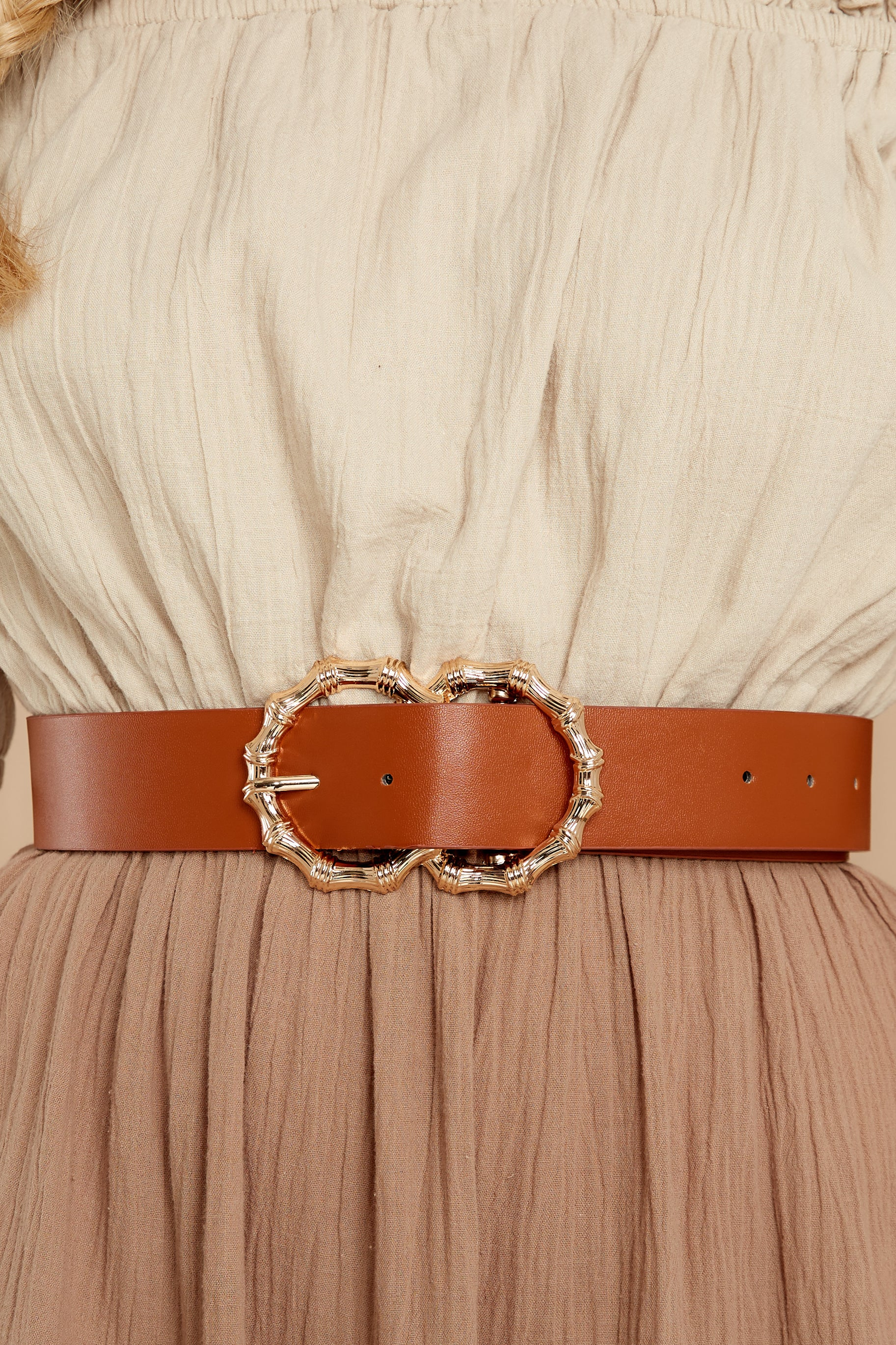 1 Bamboozle Them All Cognac Belt at reddressboutique.com