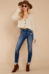 1 Heartbeat Away Sand Beige Crop Cardigan at reddressboutique.com