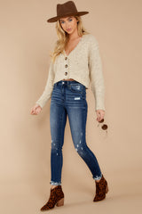 3 Heartbeat Away Sand Beige Crop Cardigan at reddress.com