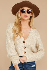 5 Heartbeat Away Sand Beige Crop Cardigan at reddress.com