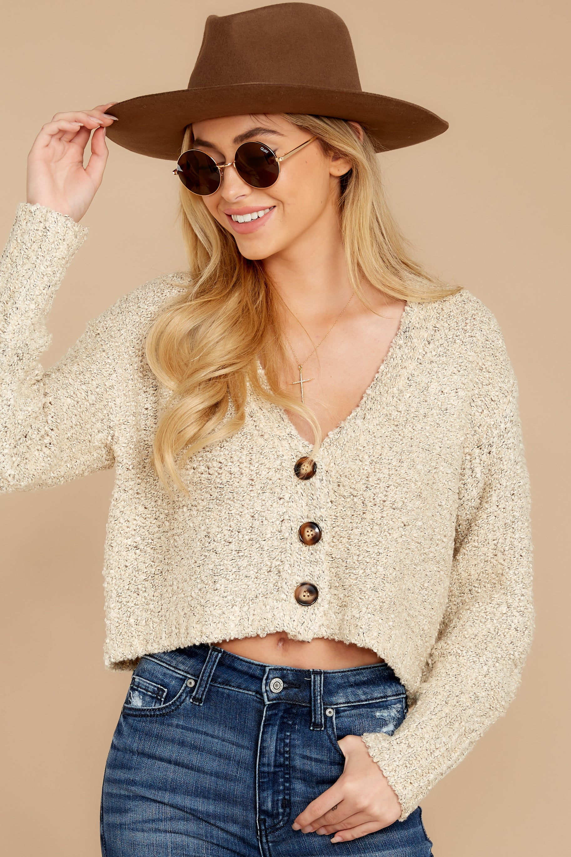 6 Heartbeat Away Sand Beige Crop Cardigan at reddress.com