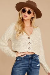 7 Heartbeat Away Sand Beige Crop Cardigan at reddress.com