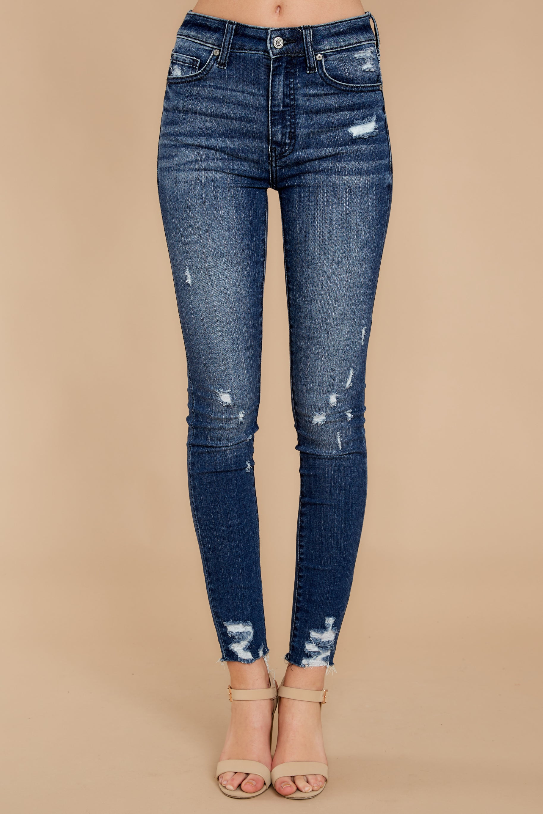 2 Downtown Feels Dark Wash Distressed Skinny Jeans at reddressboutique.com