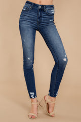 1 Downtown Feels Dark Wash Distressed Skinny Jeans at reddressboutique.com