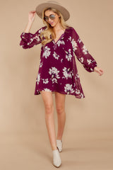 1 Go Out In Style Red Plum Floral Print Dress at reddressboutique.com
