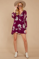 2 Go Out In Style Red Plum Floral Print Dress at reddressboutique.com