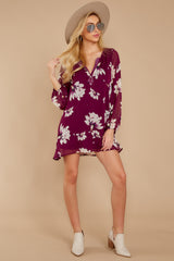 3 Go Out In Style Red Plum Floral Print Dress at reddressboutique.com