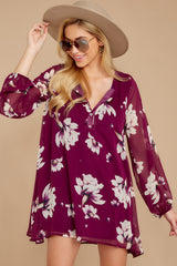 4 Go Out In Style Red Plum Floral Print Dress at reddressboutique.com