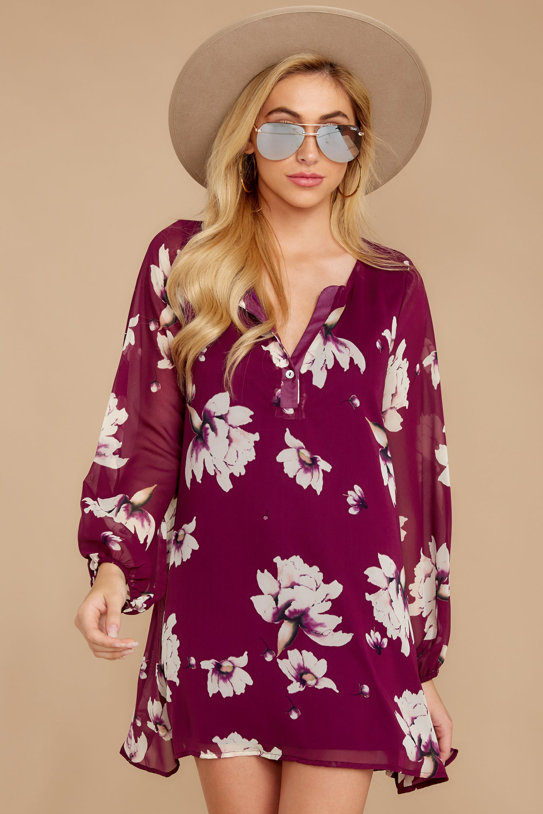 Go Out In Style Red Plum Floral Print Dress