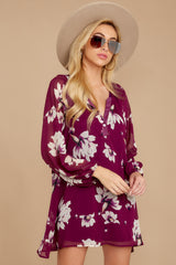 6 Go Out In Style Red Plum Floral Print Dress at reddressboutique.com