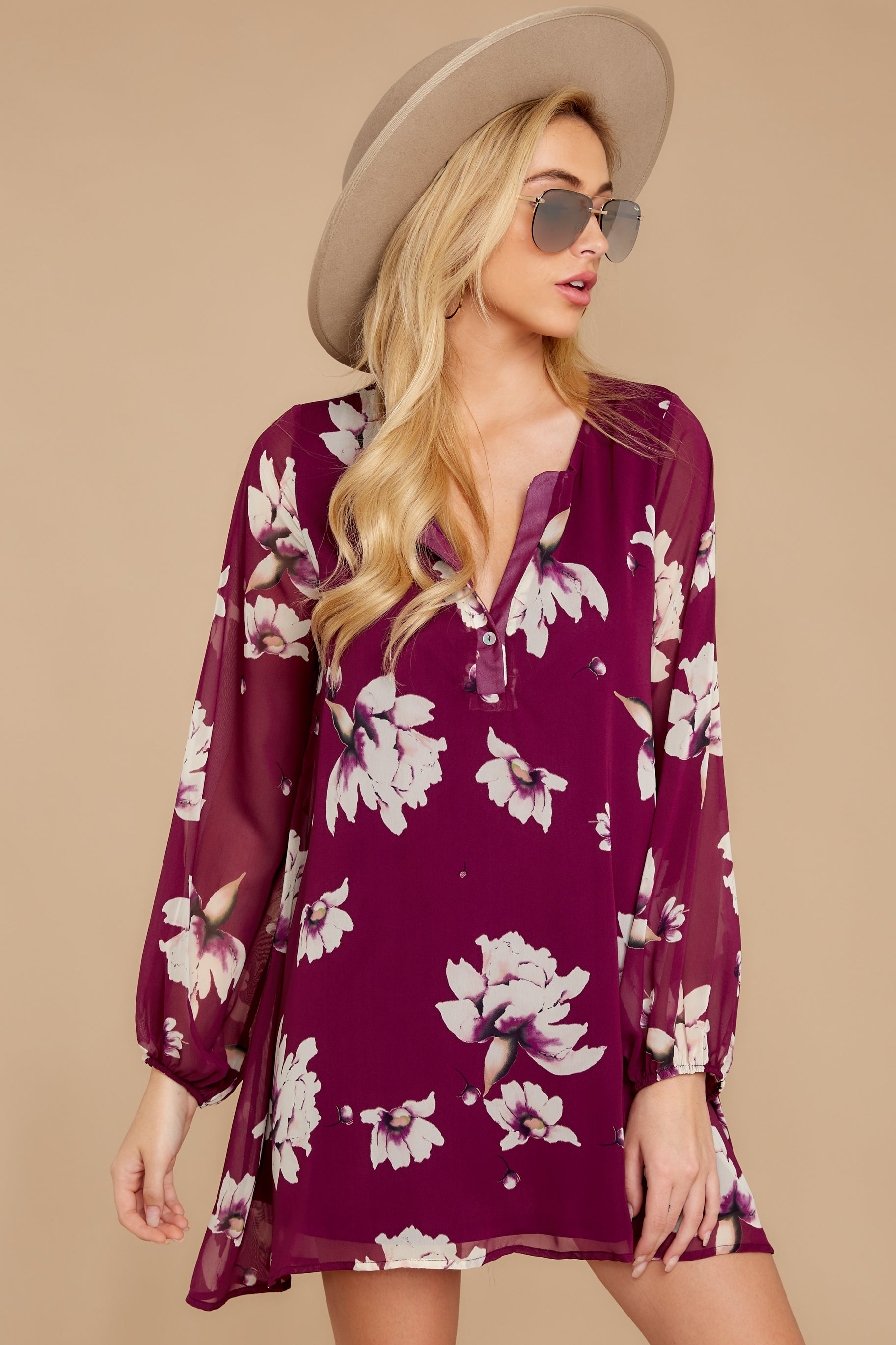7 Go Out In Style Red Plum Floral Print Dress at reddressboutique.com